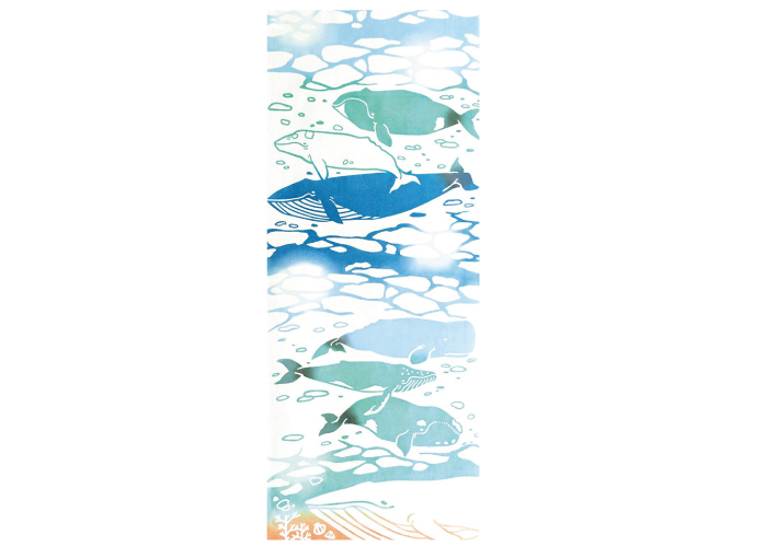 Japanese towel Tenugui whale