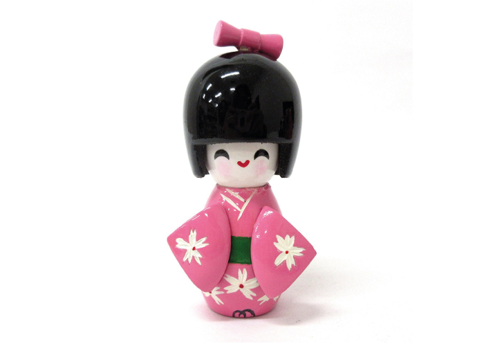 Japanese Wooden Mini Pink Kokeshi Doll