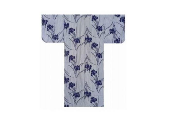 Authentic Japanese Samurai Yukata / Fresh & Cool Kimono- Iris & Stripe #574