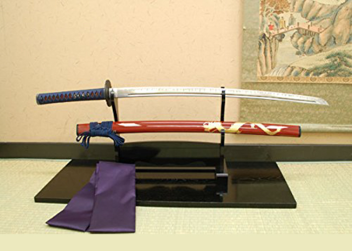 Authentic Japanese Sword – Red Sheath with Golden Dragon