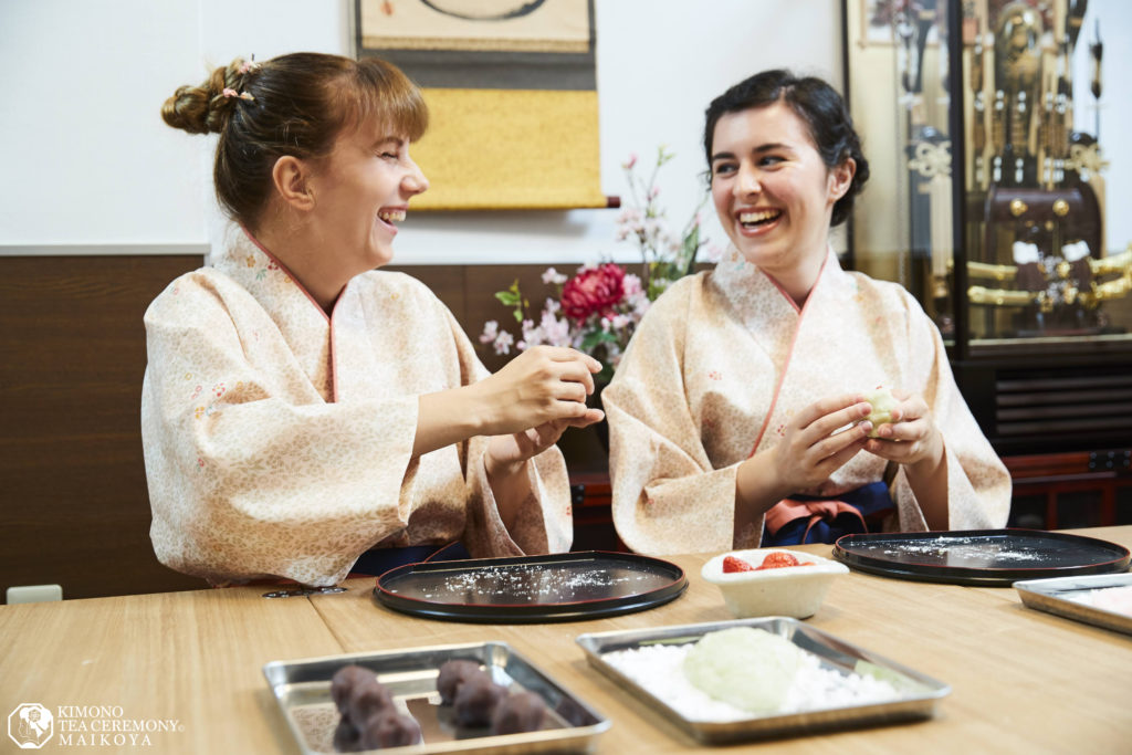PRIVATE Japanese Sweets Making and Tea Ceremony in Kyoto Maikoya